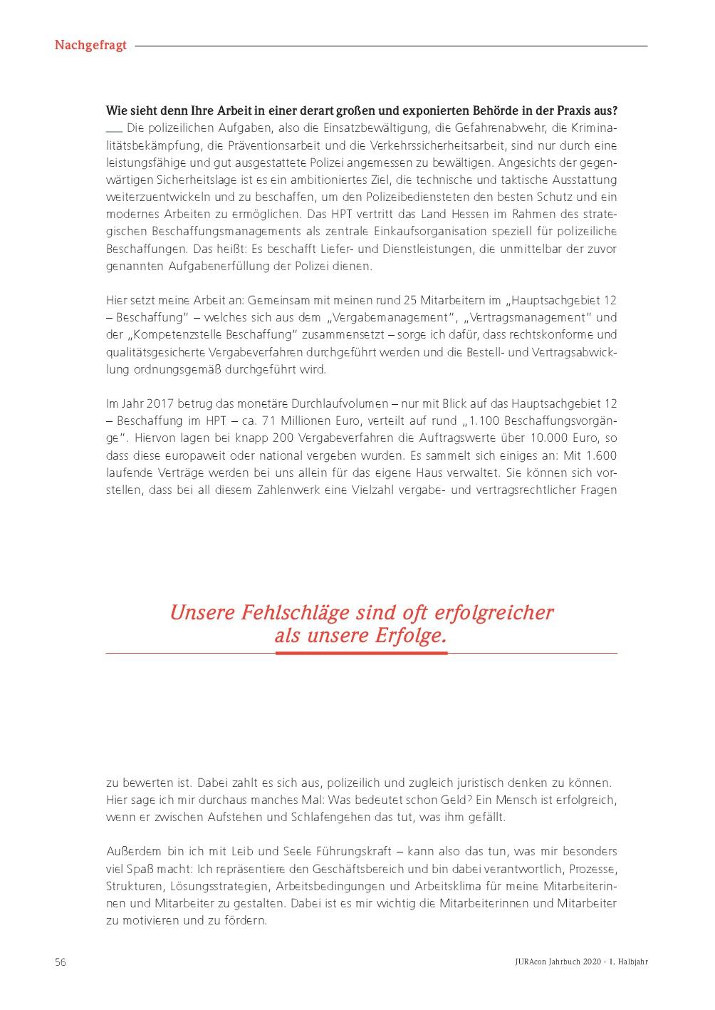 JURAcon Jahrbuch 2020 - Interview Marco Führer - Seite 56