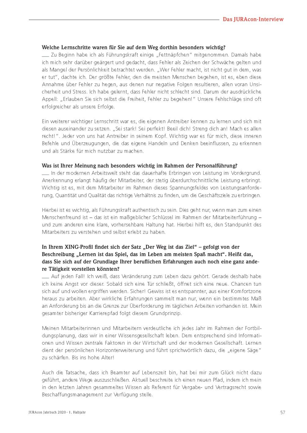 JURAcon Jahrbuch 2020 - Interview Marco Führer - Seite 57