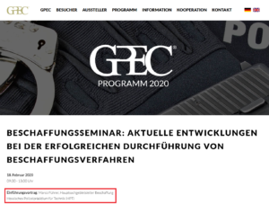 Vortrag zum Beschaffungsmanagement der Hessischen Polizei durch Marco Führer - Beschaffungsseminar GPEC 2020