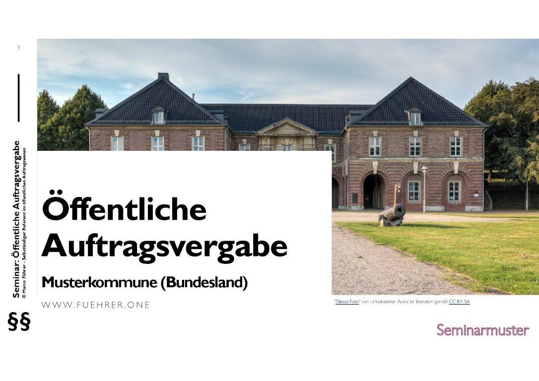 Seminarmuster - Öffentliches Auftragswesen: Vergaberecht und Beschaffungsmanagement - Folie 01