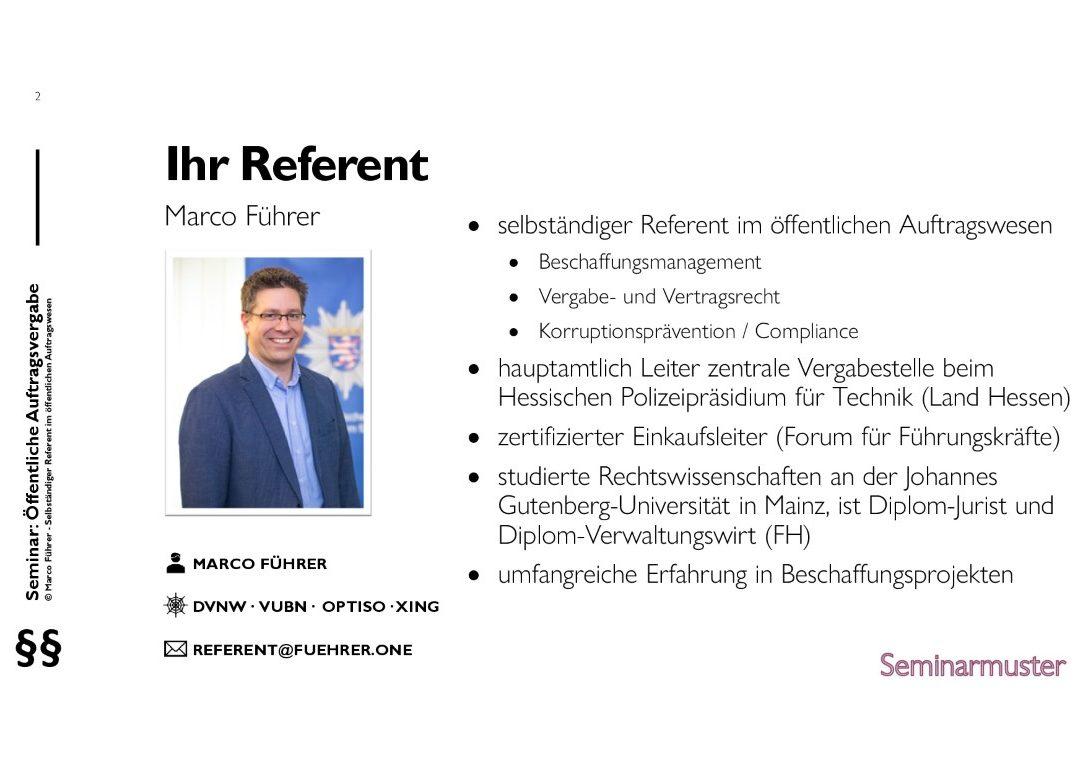 Seminarmuster - Öffentliches Auftragswesen: Vergaberecht und Beschaffungsmanagement - Folie 02