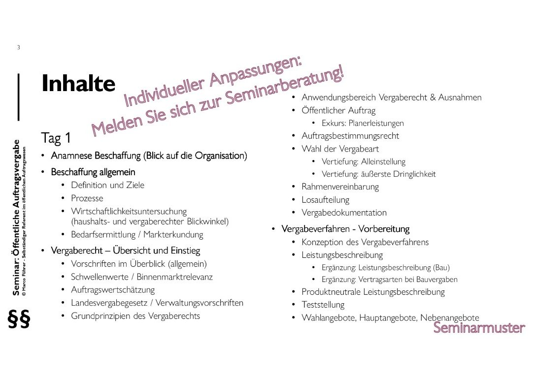 Seminarmuster - Öffentliches Auftragswesen: Vergaberecht und Beschaffungsmanagement - Folie 03