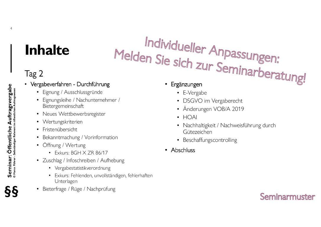 Seminarmuster - Öffentliches Auftragswesen: Vergaberecht und Beschaffungsmanagement - Folie 04