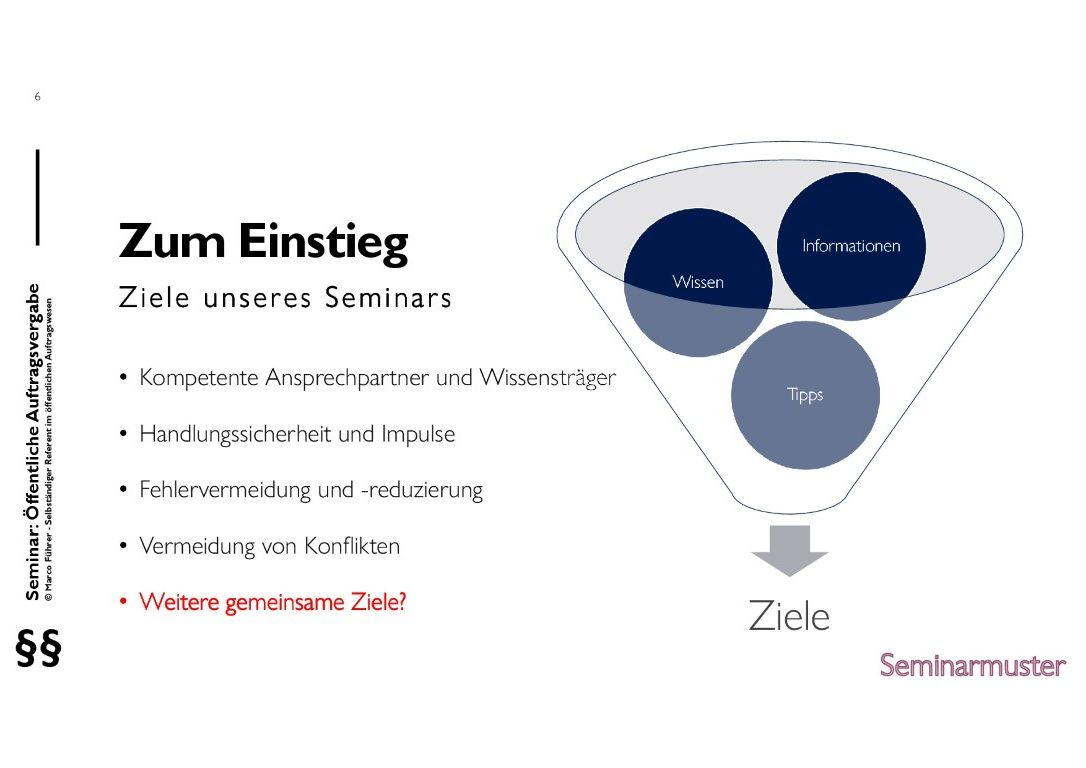 Seminarmuster - Öffentliches Auftragswesen: Vergaberecht und Beschaffungsmanagement - Folie 06