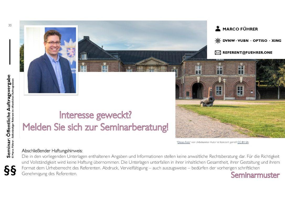 Seminarmuster - Öffentliches Auftragswesen: Vergaberecht und Beschaffungsmanagement - Folie 20