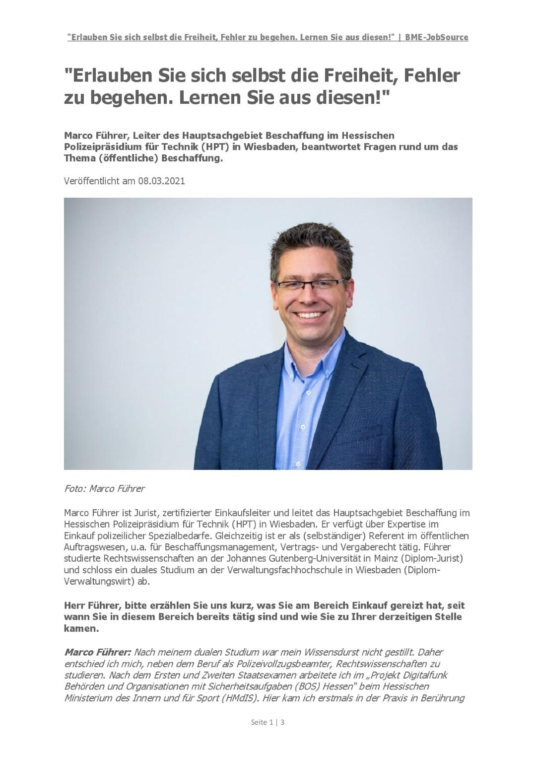 BME-JobSource - Interview Marco Führer, HPT - Seite 1